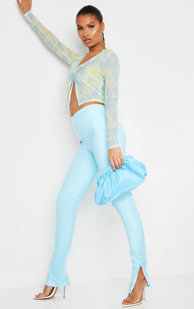 Light Blue Vinyl Split Hem Skinny Pants 1