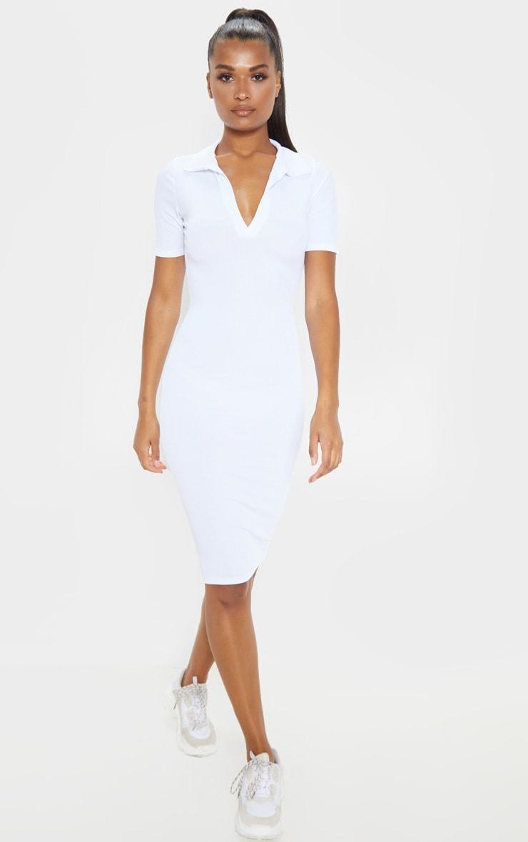 White Ribbed Midi Polo Dress 1