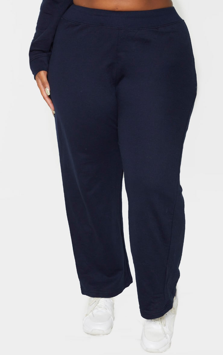 Plus Navy Sweat High Waisted Wide Leg Trouser 2