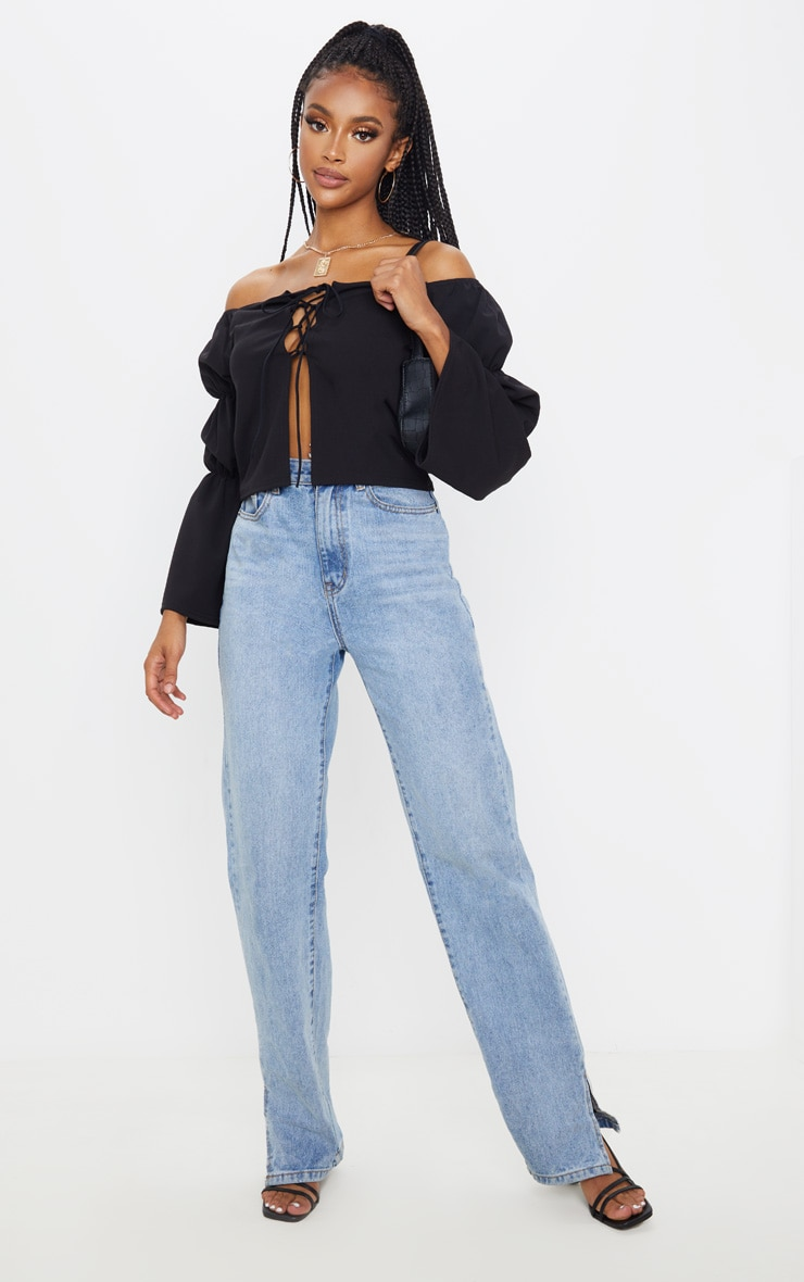 Black Crepe Lace Up Puff Long Sleeve Top 4