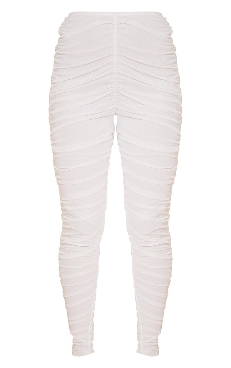 White Mesh Layered Ruched Leggings 5