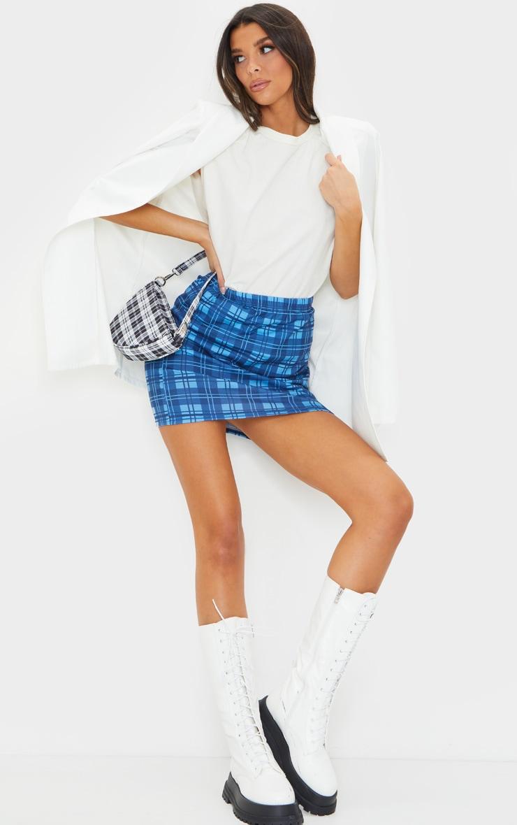 Bright Blue Check Mini Skirt 1