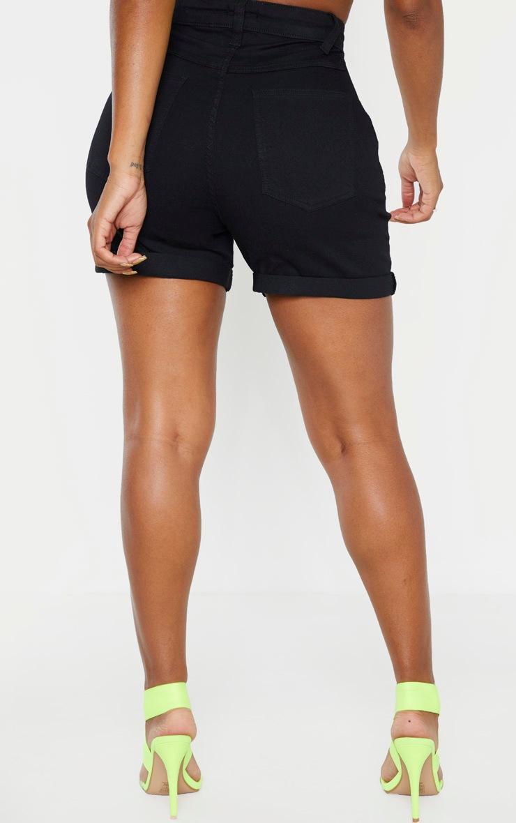 Shape Black High Waist Fitted Denim Shorts 6
