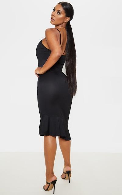 Black Frill Asymmetric Hem Midi Dress
