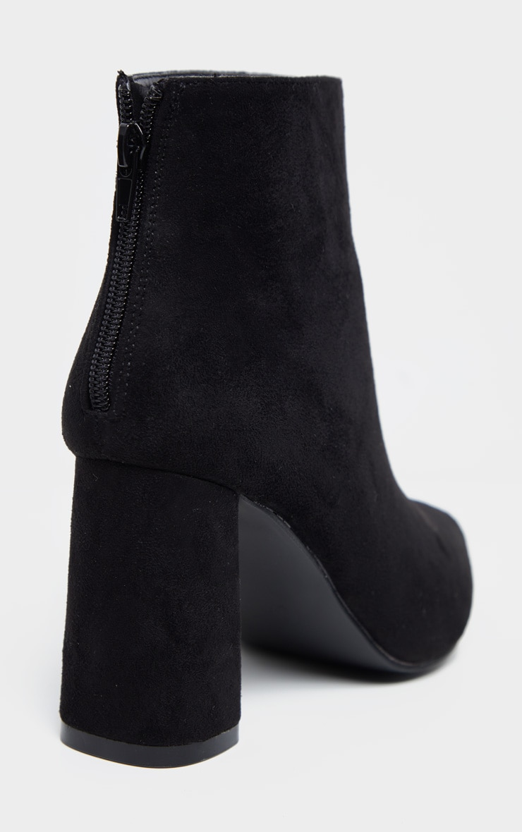 Black Wide Fit Zip Back Ankle Boot 4
