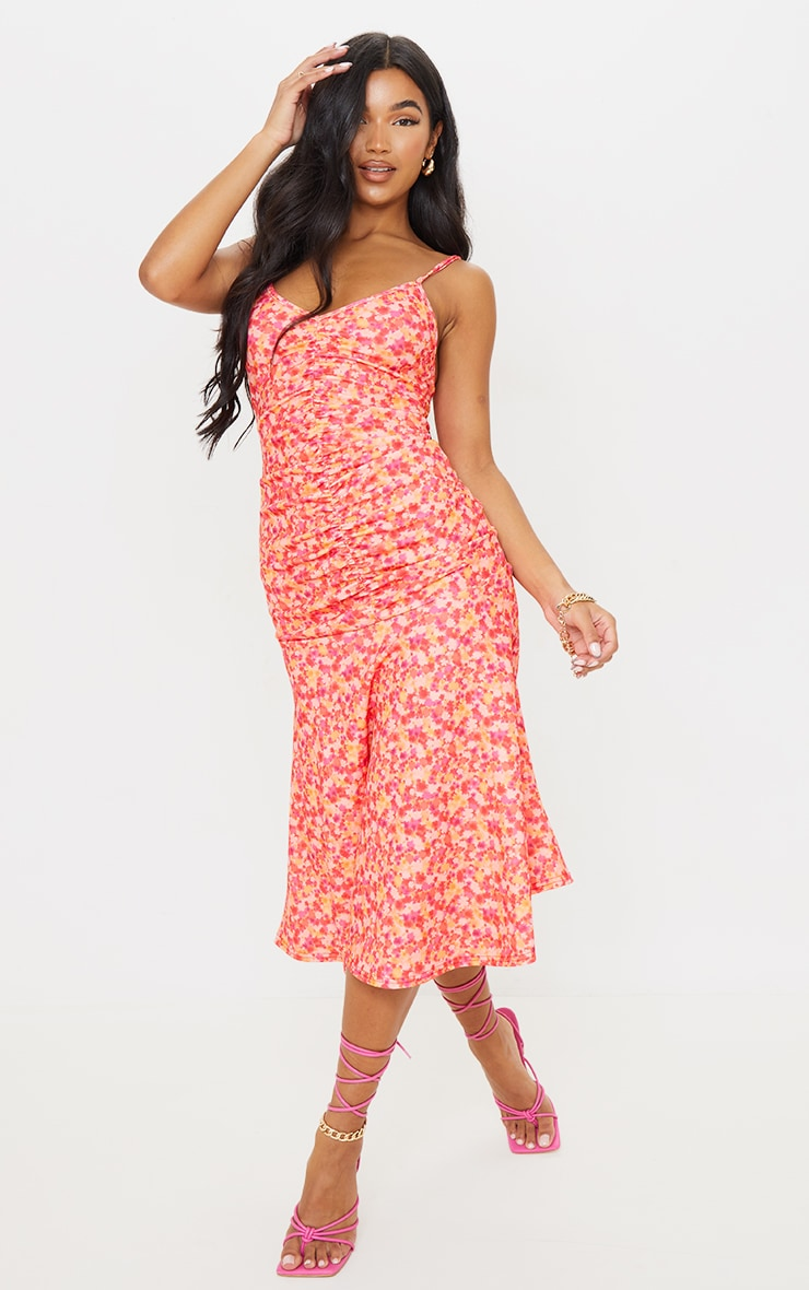Pink Floral Print Strappy Ruched Flare Hem Midi Dress