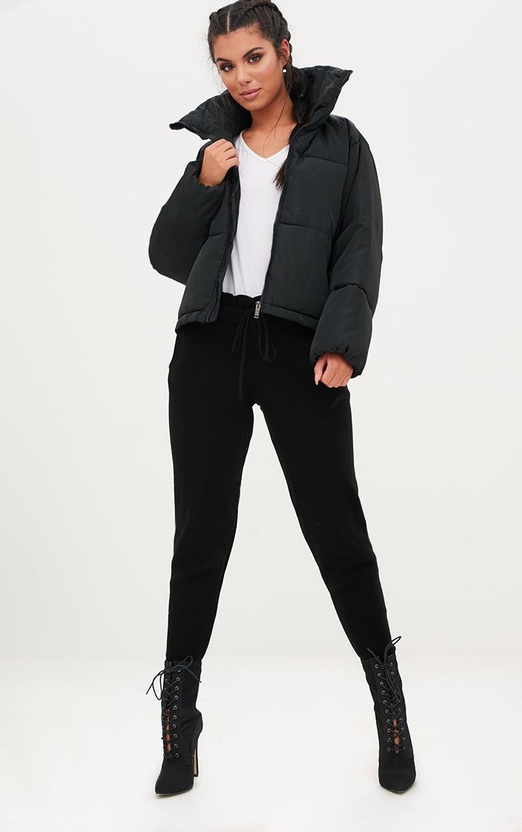 Black Cropped Puffer Jacket 4