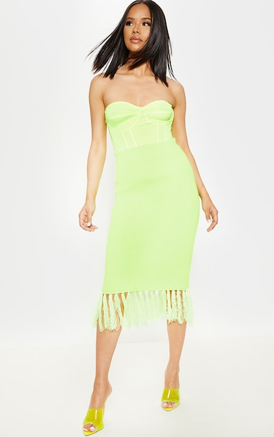 a33a0eb7cc Neon Yellow Tassle Hem Midi Knitted Skirt