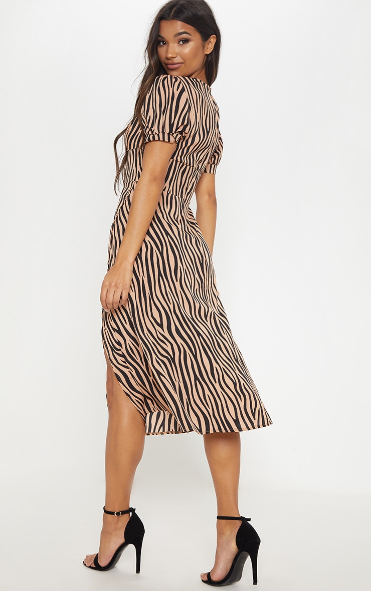 Beige Tiger Print Wrap Skirt Midi Dress 2