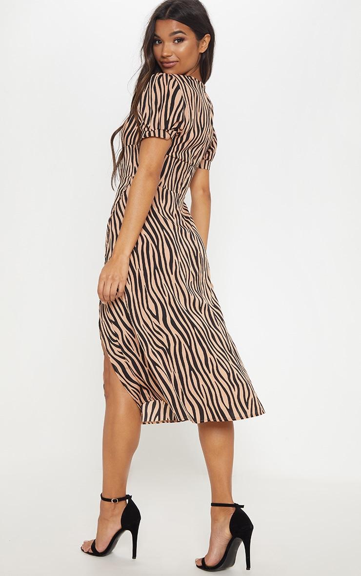 Beige Tiger Print Wrap Skirt Midi Dress 2