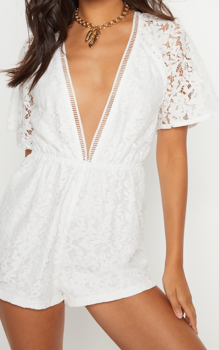 White Lace Flared Sleeve Playsuit 5