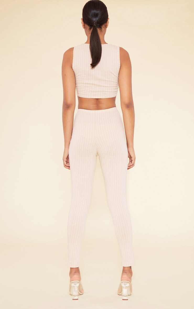 RECYCLED Deep Nude Pinstripe Square Neck Crop Top 4