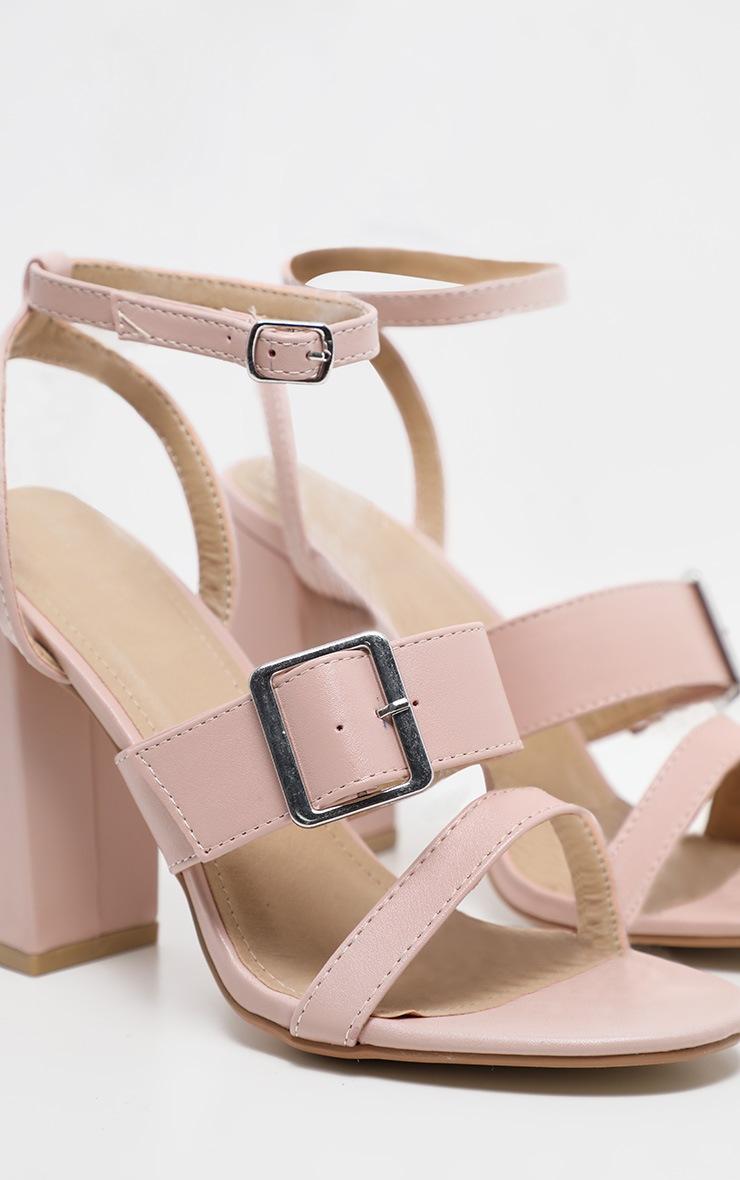Nude Buckle Strap Block Heel Sandal 3