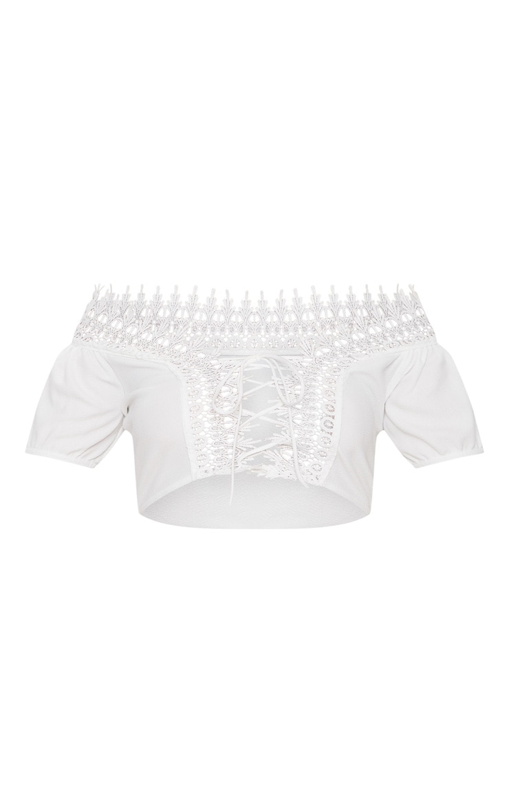 White Lace Up Bardot Crop Top  3