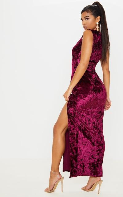 Burgundy Crushed Velvet Sweetheart Neck Maxi Dress