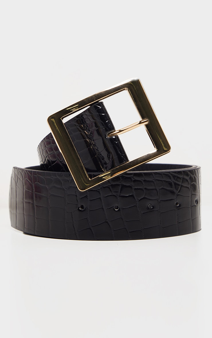 Black Patent Croc PU Square Buckle Waist Belt 3