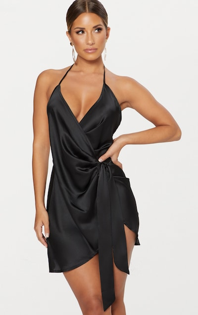 24bc57ea6a472 Black Satin Halterneck Wrap Bodycon Dress