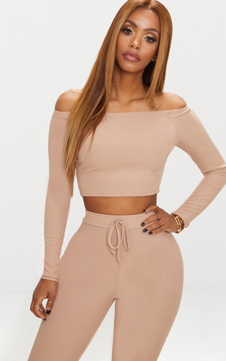 Shape Nude Ribbed Bardot Long Sleeve Crop Top 1