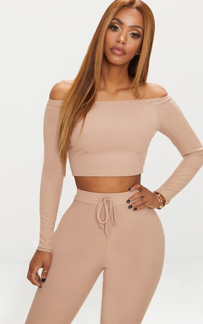 bc7796ab7cf Shape Nude Ribbed Bardot Crop Top PrettyLittleThing Sticker