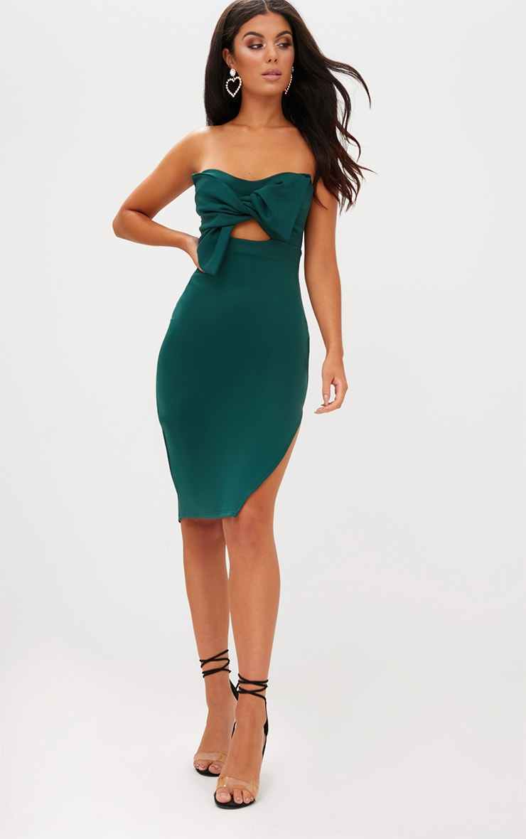 Emerald Green Bow Detail Scuba Midi Dress 4