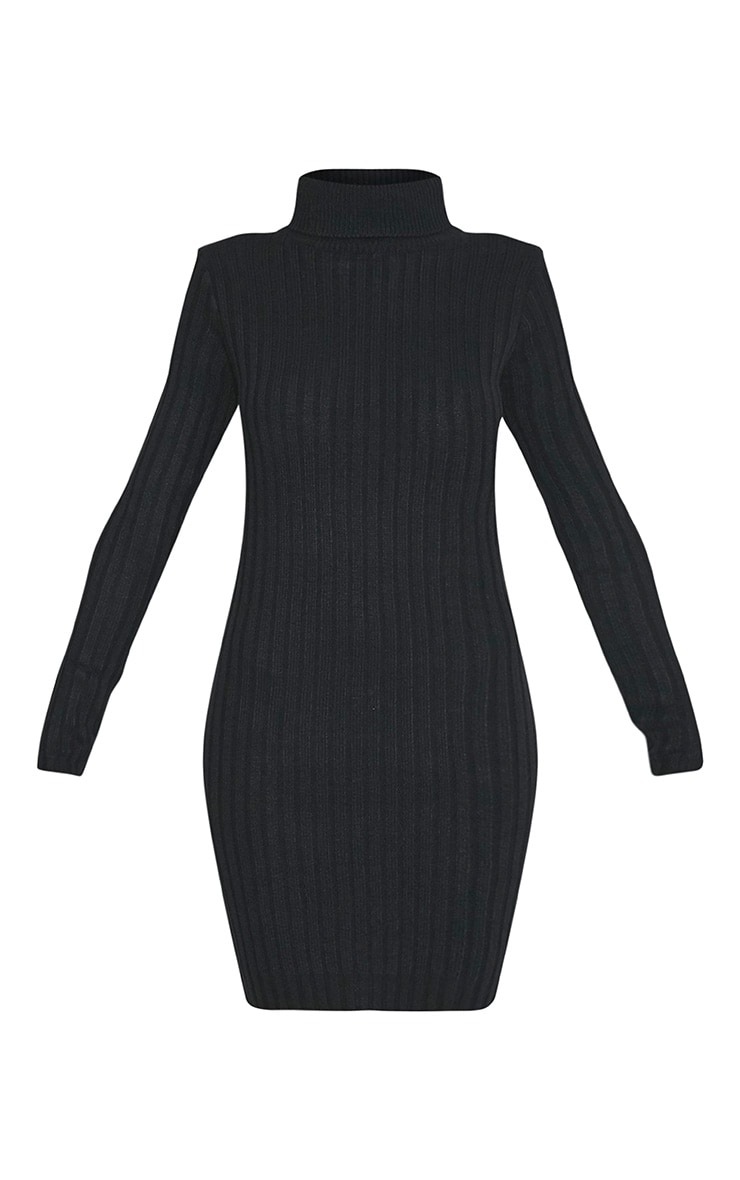 Bianca Black Ribbed Roll Neck Knitted Dress 3