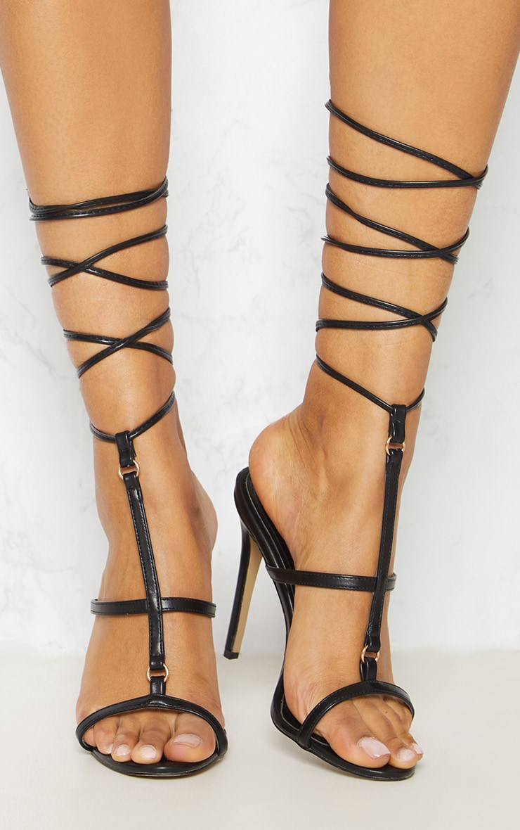 Black Strappy Gladiator Sandal 5