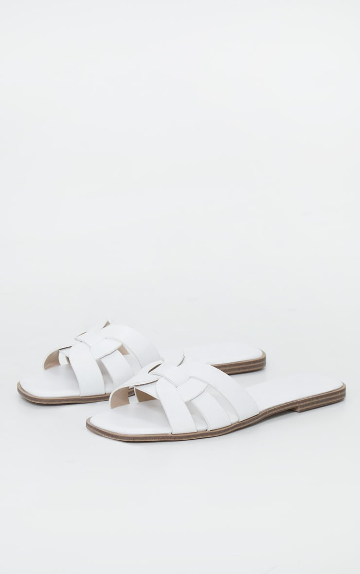 White Cross Over Strap Mule Flat Sandals 3