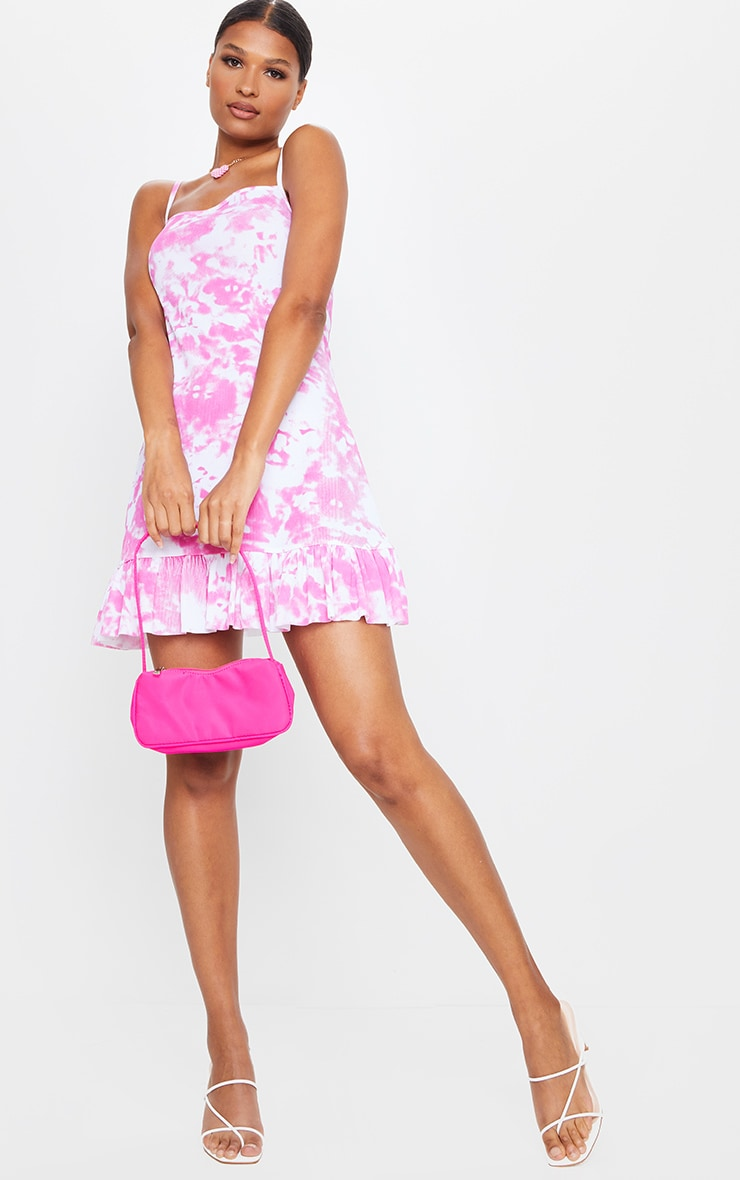 Pink Tie Dye Strappy Frill Hem Shift Dress 3