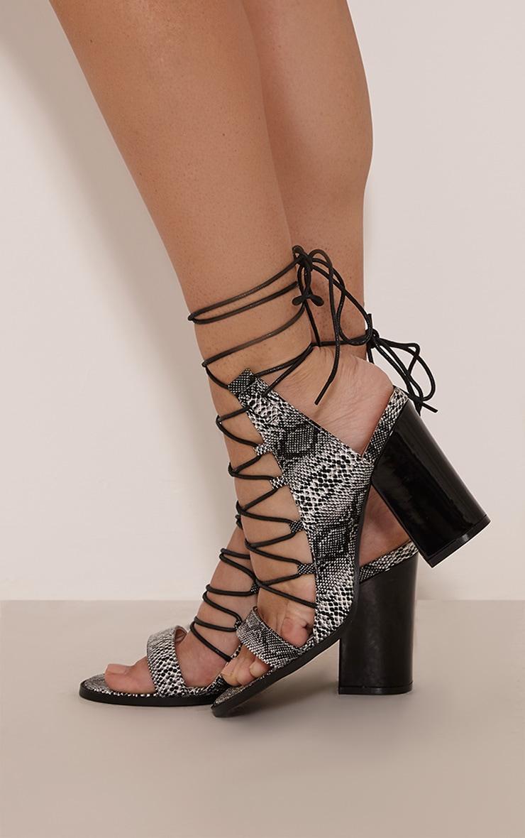 Lisa Grey Snakeprint Lace Up Heeled Sandals 2