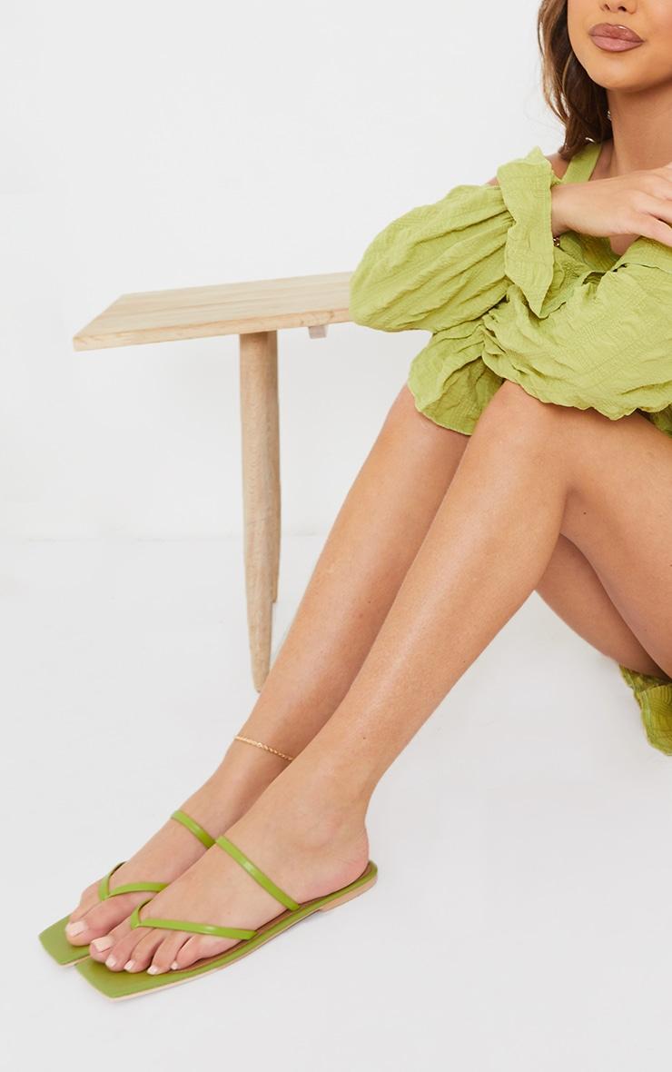 Sage Green Real Leather Toe Loop Slide On Square Toe Sandals 1