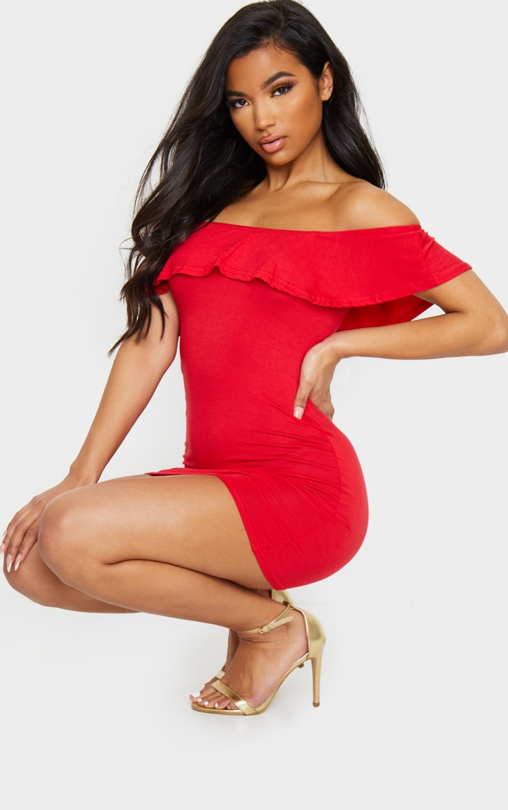 Basic Red Bardot Frill Detail Bodycon Dress 3
