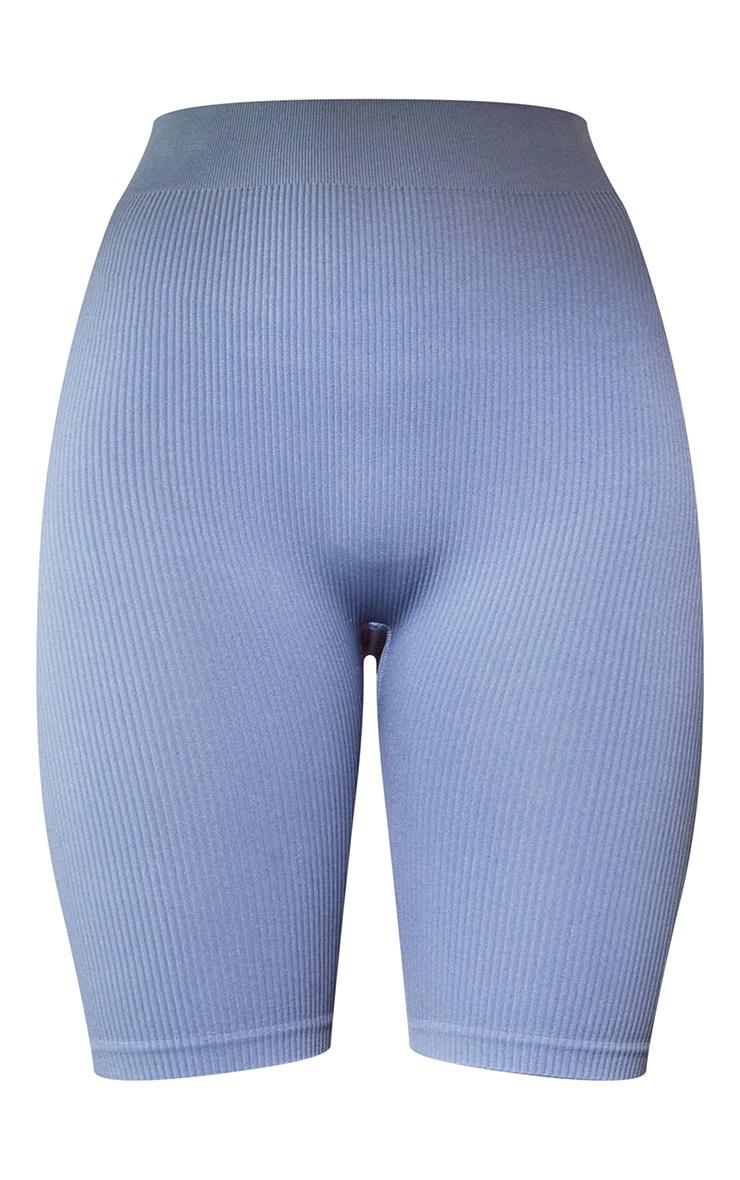 Blue Structured Contour Rib Bike Shorts 6