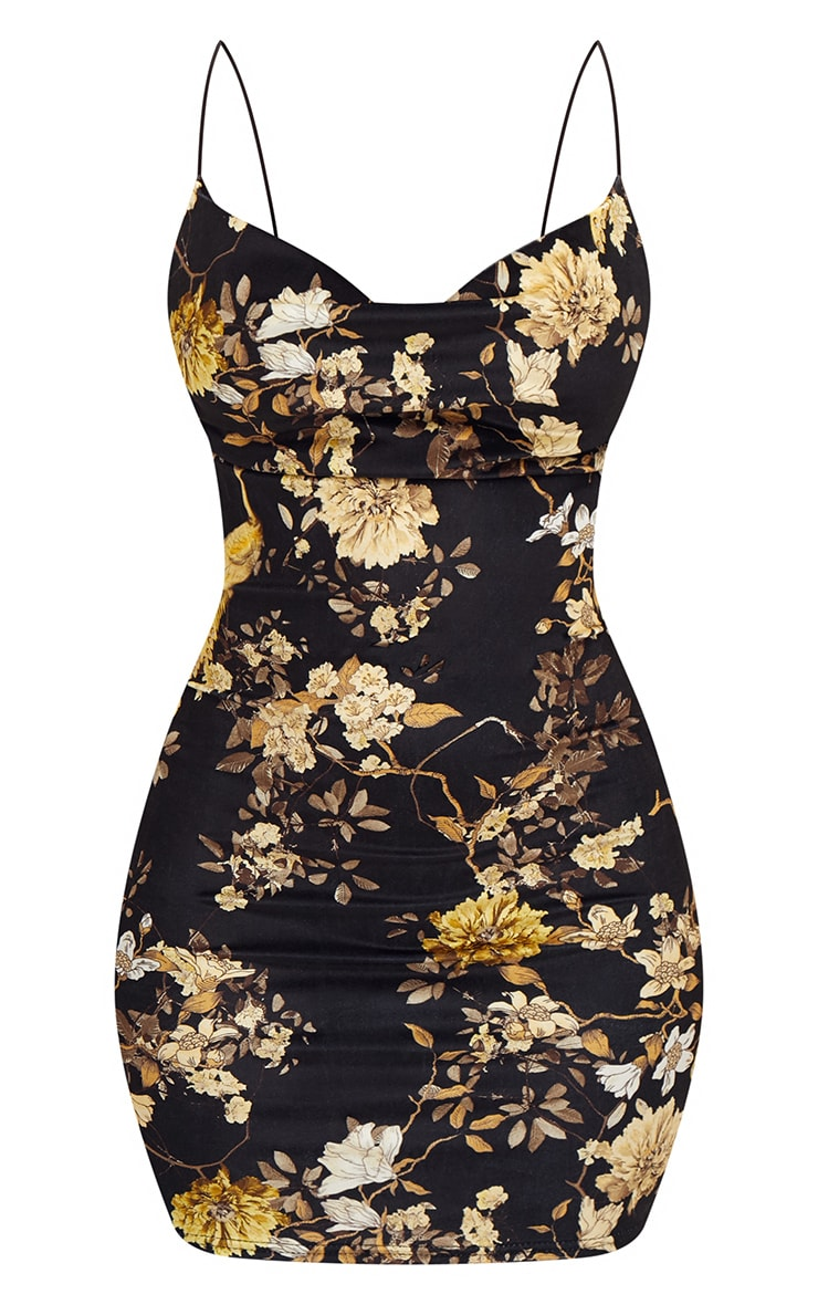 Black Velvet Floral Cowl Neck Bodycon Dress 3