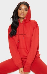 PRETTYLITTLETHING Red Embroidered Oversized Hoodie 1