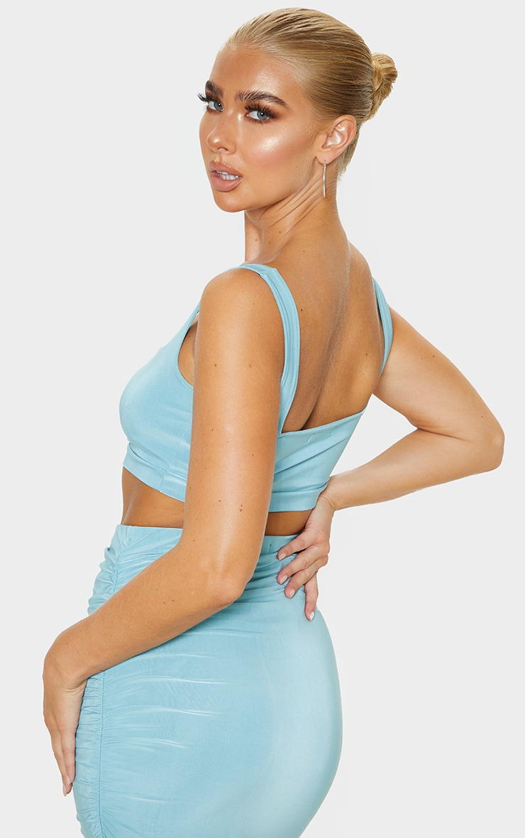 Dusty Turquoise Second Skin Slinky Square Neck Crop Top 2