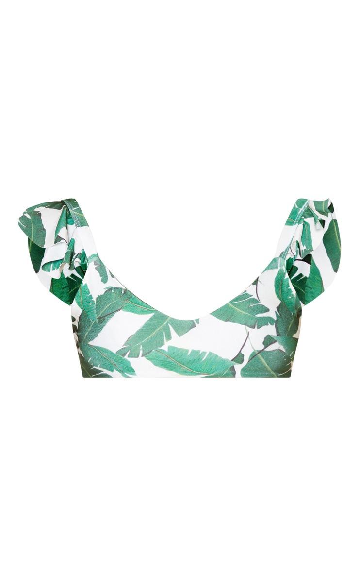 Petite Green Leaf Print Frill Shoulder Bikini Top 2