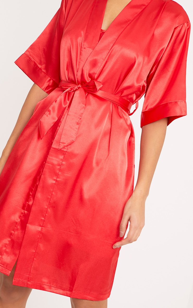 Cherrie Red Satin Nightie and Dressing Gown Set 3