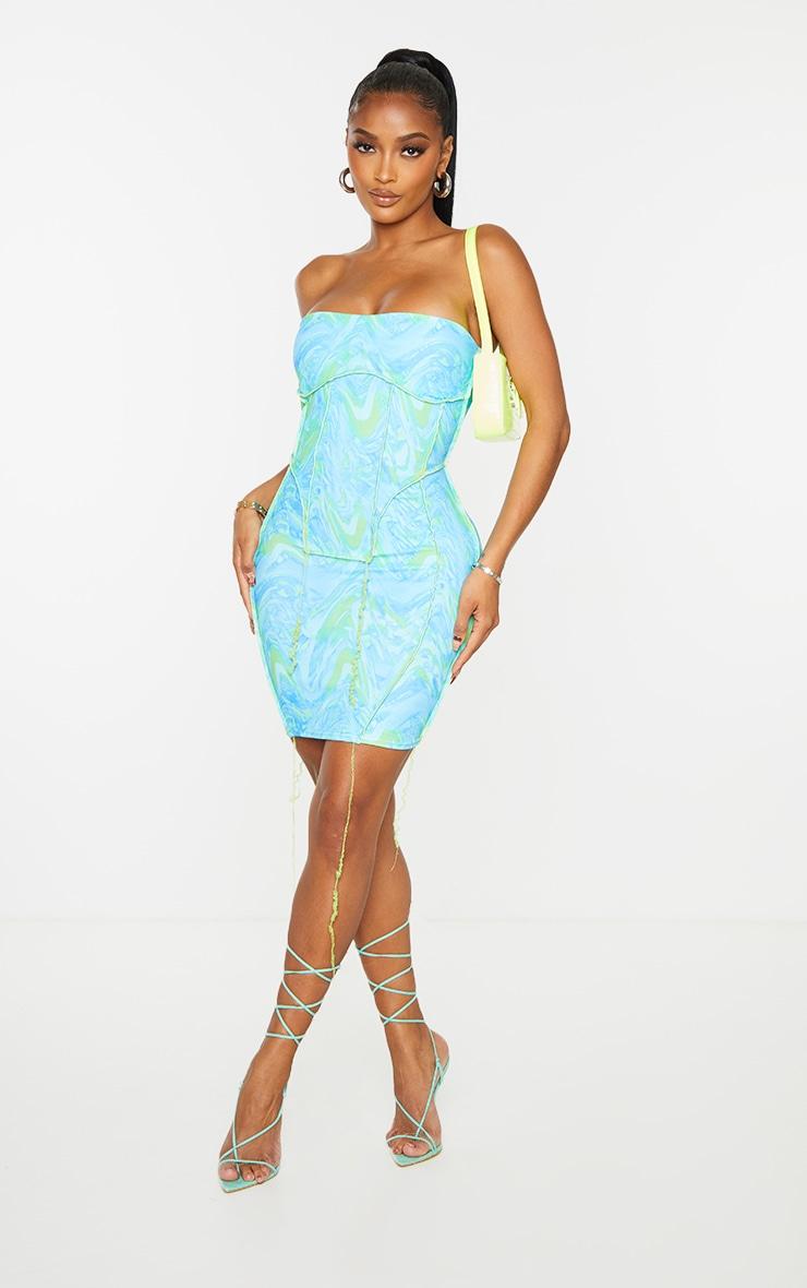Shape Blue Wave Print Overlock Seam Corset Detail Bodycon Dress 3