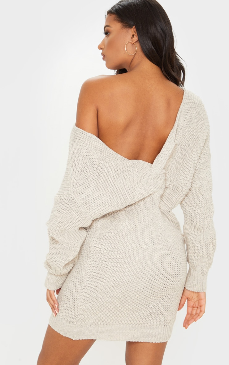 Stone Twist Back Sweater Dress 1