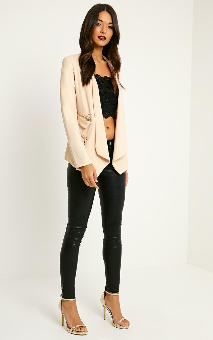 Carlina Beige Zip Pocket Blazer 3