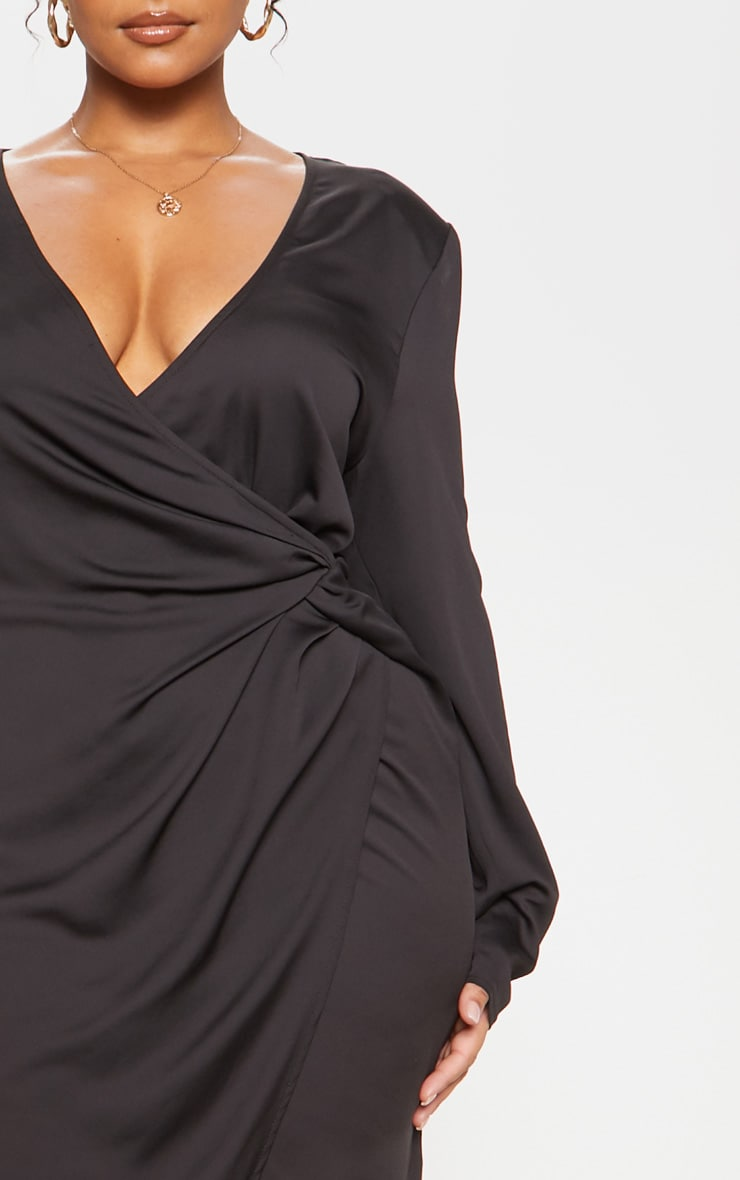 Black Drape Pleated Detail Midi Dress 6