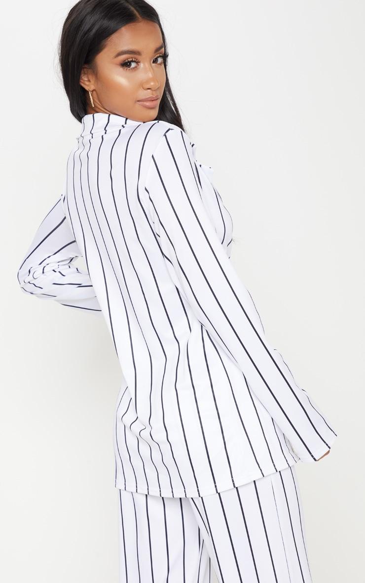 Petite White Striped Blazer  2