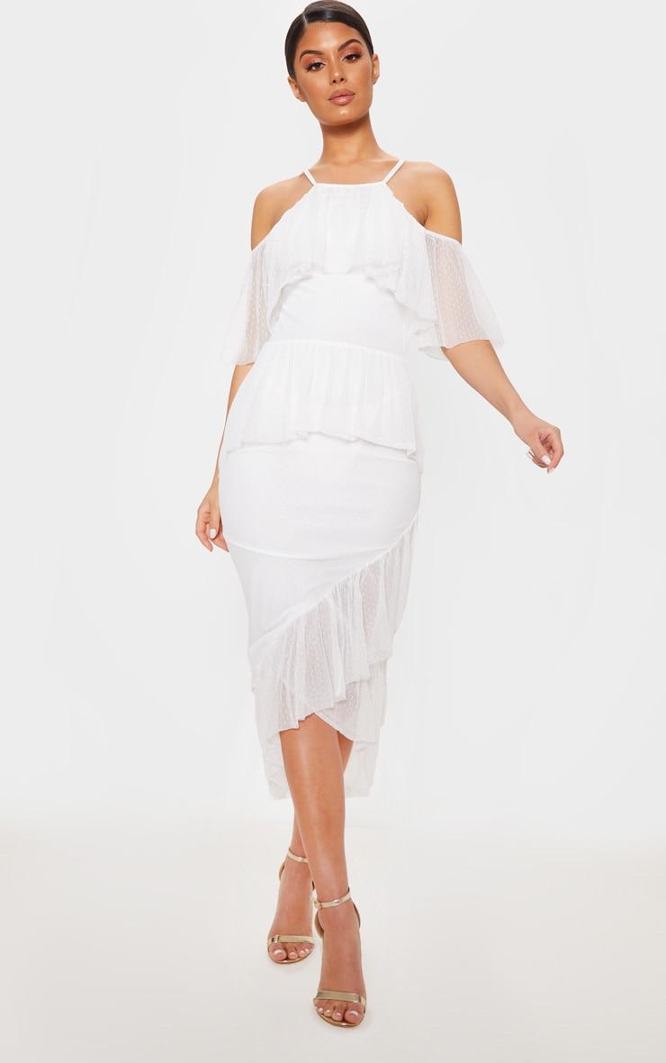 White Dobby Mesh Tiered Midi Dress 4