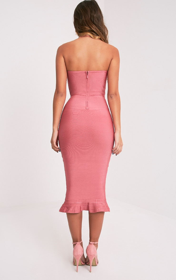 Roxina Rose Bandage Frill Hem Midi Dress 2