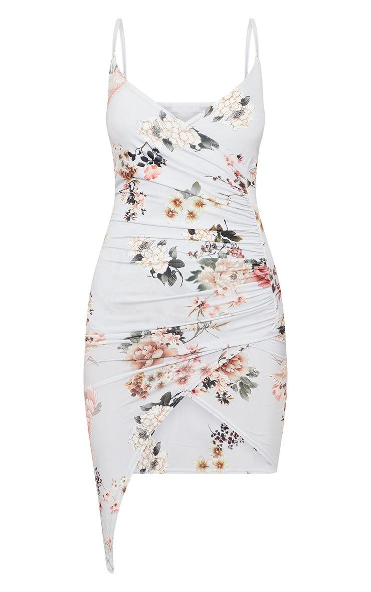 Grey Floral Print Wrap Midi Dress 3