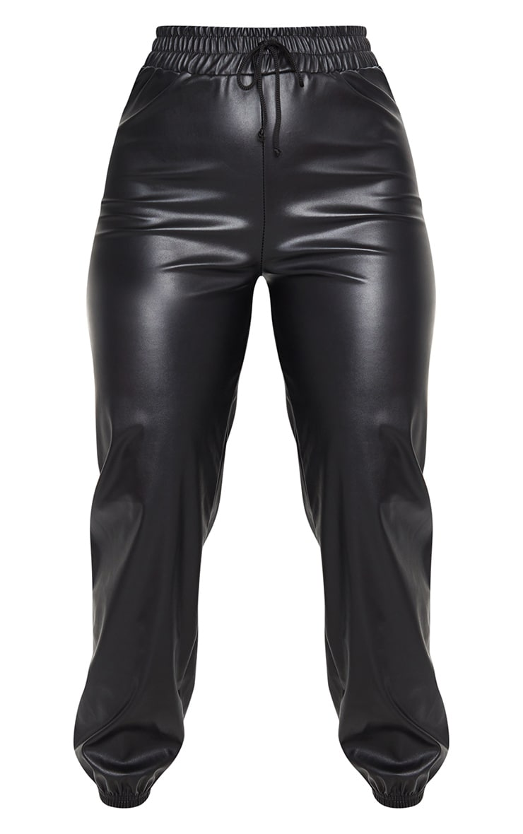 Black PU Tie Detail Joggers 5