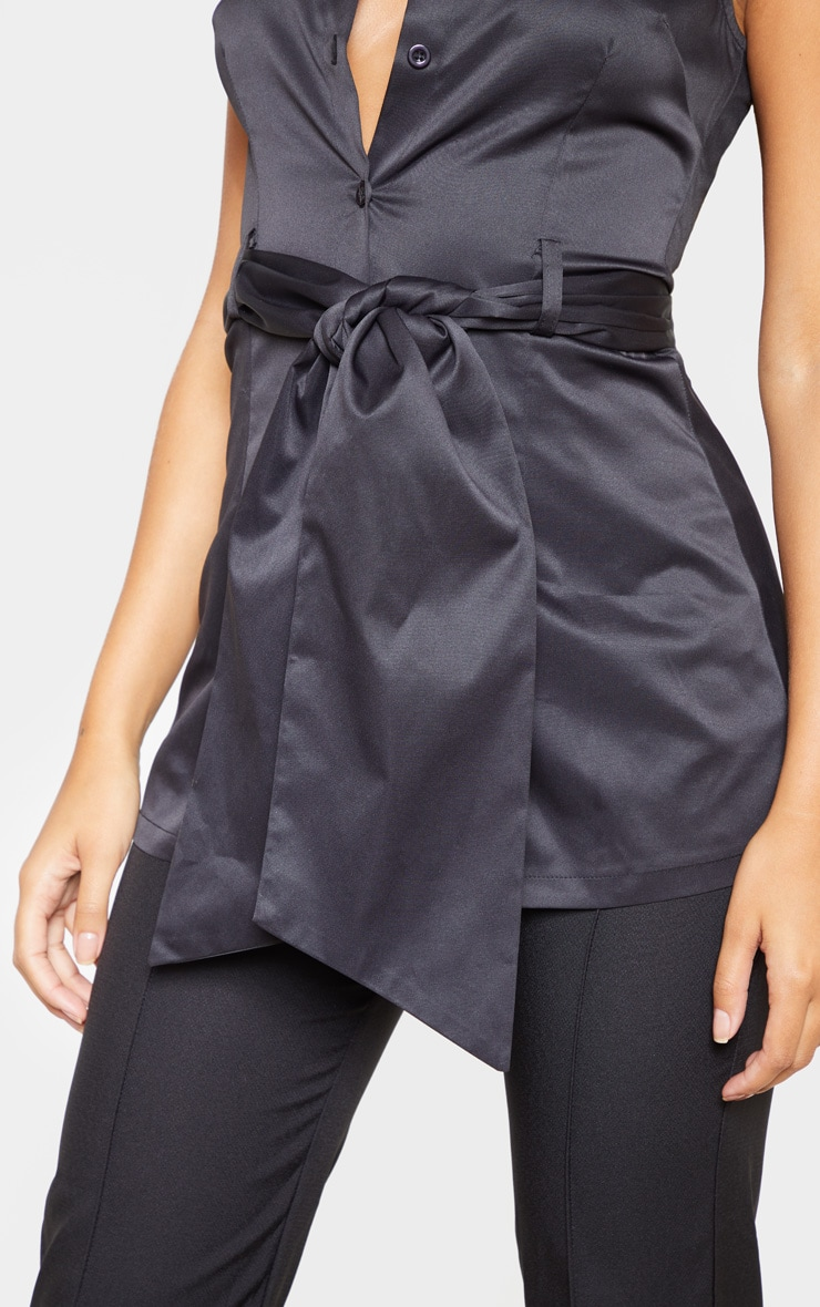 Black Sleeveless Peplum Shirt 5