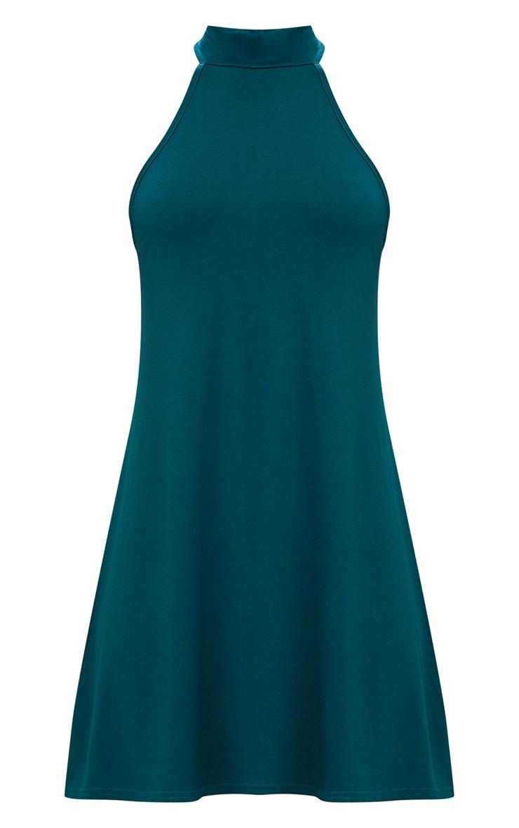 Forest Green Jersey High Neck Swing Dress 3
