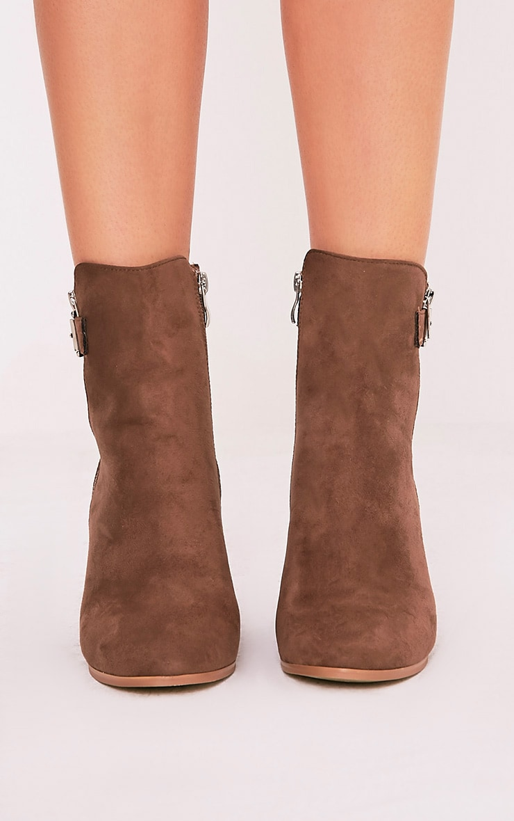 Karina Mocha Faux Suede Buckle Ankle Boots 3