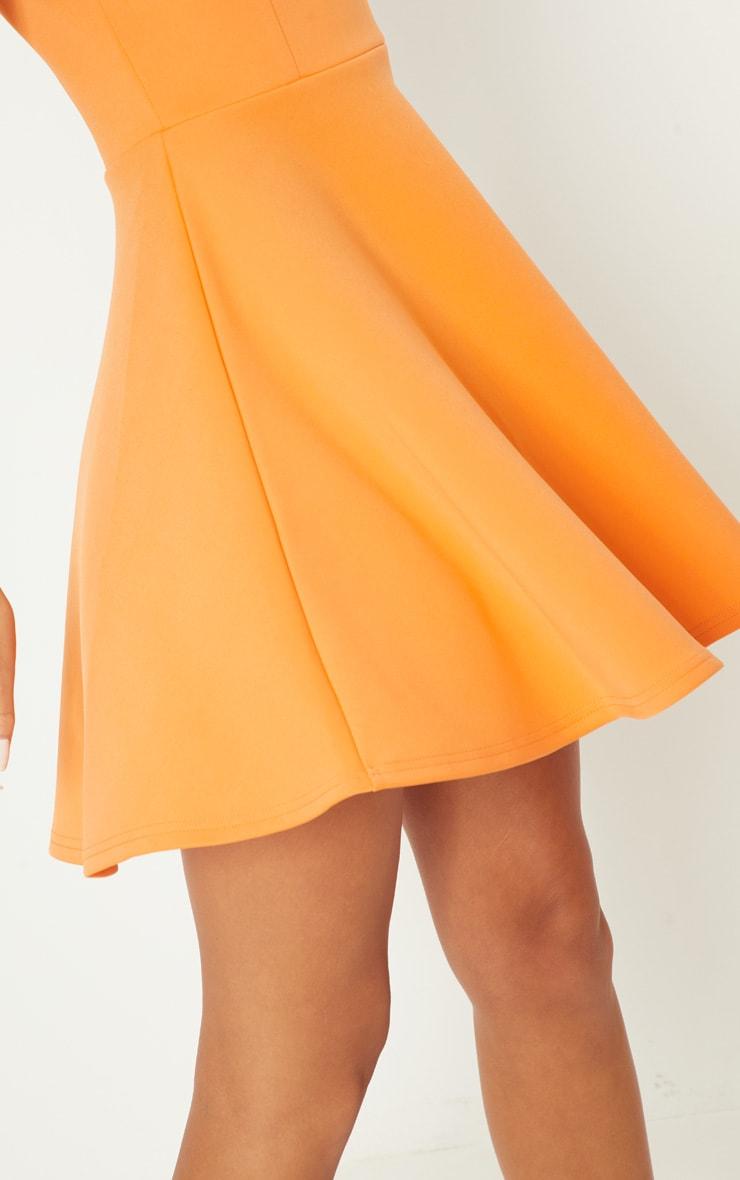 Tangerine Scuba Square Neck Skater Dress 4